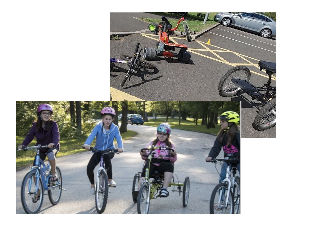 children learning how to ride a bike